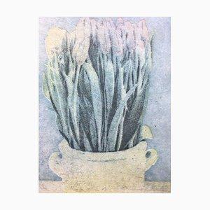 Boris N. Bari, Bluish Flowers, Woodcut