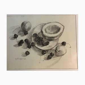 Inge Rayer, Still Life with Cherries, 1975, Charcoal