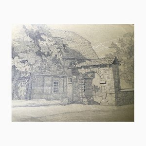 Lisa Schmidt, Farmhouse with Archway, Pencil