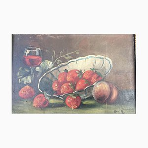 Moritz, Strawberries in the Cup, Oil on Wood