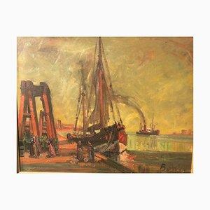 Arthur Alexander Bante, Reede Harbor Sailboat, 1924, Oil on Canvas