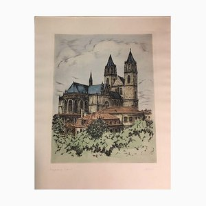 Magdeburg Cathedral, Color Lithograph