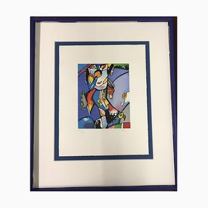 Alt Otmar Uncle Pelle, Blue Color Etching, Handmade Paper Sheet