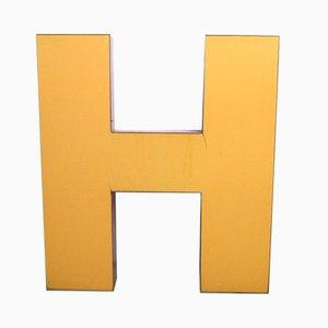 Lettera H grande industriale in metallo, anni '70