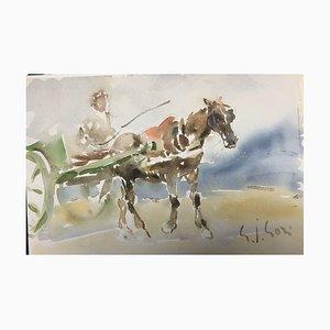 Gino Paolo, Jockey, 1991, Aquarelle