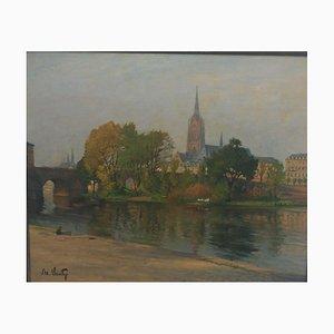 Adolf Luntz, 1875-1934, pont de la cathédrale, huile sur toile