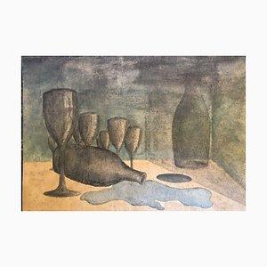 Papel pintado de astillas de madera, acuarela