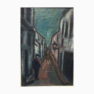 Callejón impresionista, óleo sobre lienzo