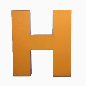 Large Orange Industrial Vintage Letter H, 1970s