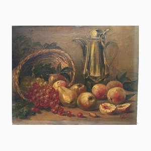 Apples and Grapes Still Life, Oil on Canvas