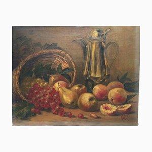 Bodegón de manzanas y uvas, óleo sobre lienzo