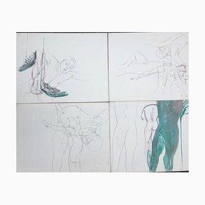 Erzsebet Csendesi, Aktmalerei, 1989, Öl auf Leinwand, 4er Set