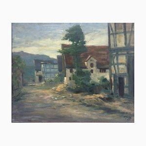 Gild Ferdinand, Hessian Dorfstrasse, 1927, óleo sobre lienzo