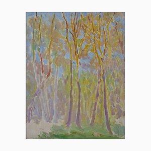 Bourgeois De Wohl, arbres, vert à jaune, 1914, technique mixte