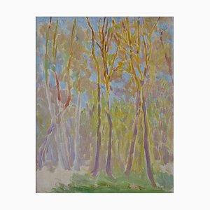 Bourgeois De Wohl, Trees, Green To Yellow, 1914, Mixed Media