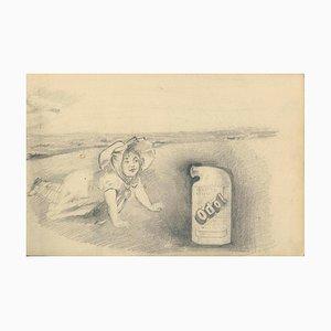 Croquis publicitaires Odol, 1906, crayon, lot de 5