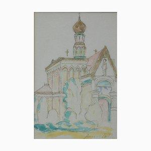 Janos Toth, Russische Kapelle, 1960, Aquarell