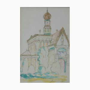 Janos Toth, Russische Kapelle, 1960, Watercolor