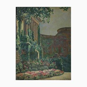 Wilhelm Saenger, Ala del castillo de Wilhelmshöhe, 1923, Óleo sobre cartón