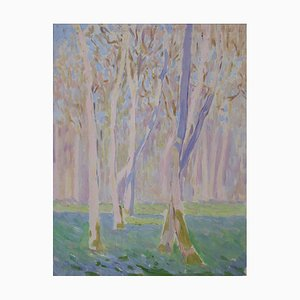 Bourgeois De Wohl, Trees In Purple Violet, 1914, Mixed Media