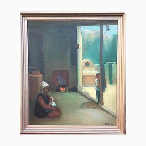 Bukharmetov Rifkat, Donna con bambino al caminetto, 1951, Olio su tela