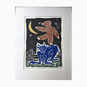 Reuber Werner, Bull Bear Moon, 1999, Holzschnitt