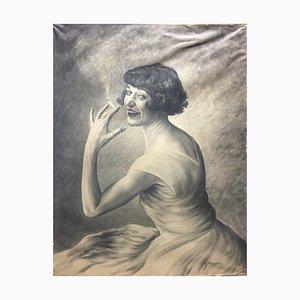 Mercier M, Smoking Lady, 1930, Fusain