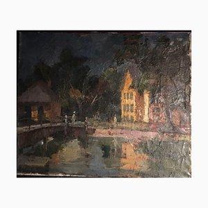 Gyula Fejes, 1895-1956, Puente con gente, óleo sobre lienzo