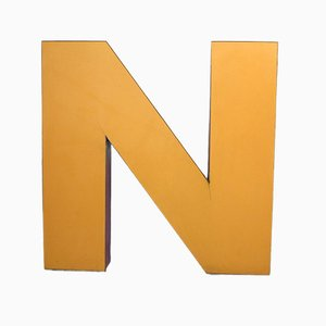 Large Orange Industrial Vintage Letter N, 1970s