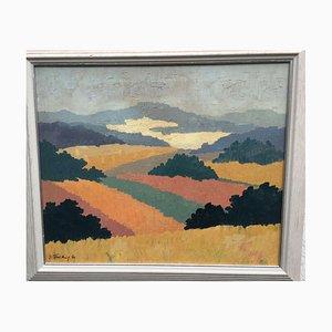 Irmi Prütting, Vista dal castello, 1990, olio su tela