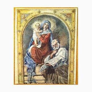 Madre de Dios retrato, dibujo a lápiz de acuarela