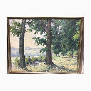 Heinrich Ohlwein, 1898-1969, n. 6 alberi ai margini della foresta, olio su tela