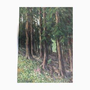 Ohlwein Heinrich, 1898-1969, bosco di abeti rossi, olio su tela