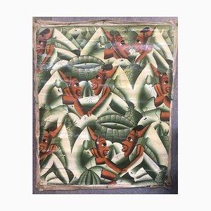 Nove maschera frutta verde, olio su tela