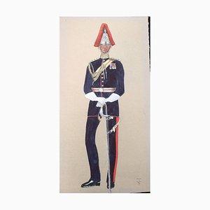Royal Captain, 1950, Gouache on Paper