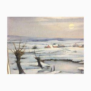 Mons Karl, Paysage d'hiver, huile sur bois