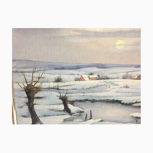 Mons Karl, Winter Landscape, Oil on Wood
