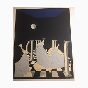 Golf Ball Over Queens on A Chessboard, 1980s, Mixed Media