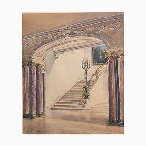 Alexander Schadan, Escalier, colonnes en marbre et lustres baroques, 1943, aquarelle