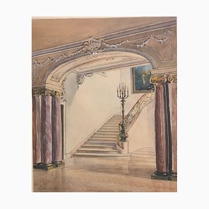 Lampadari Alexander Schadan, scala, marmo e barocco, 1943, acquerello