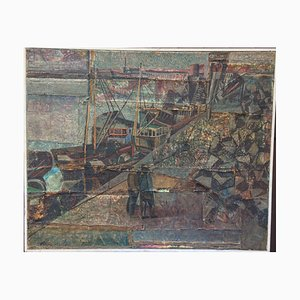 Phlutis Prister, Ship Dock Workers, 1969, huile sur toile