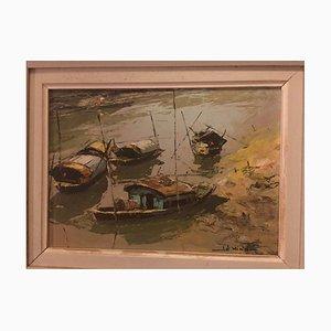 Lê Minh, Cuatro casas flotantes en la bahía, 1964, óleo sobre madera prensada