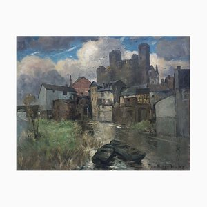 Hans Burger-Willing, 1882-1969, Runkel River With Boats, huile sur toile