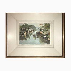 Lê Minh, Junk With Canal Buildings, 1965, óleo sobre lienzo