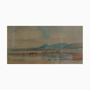 Heinrich Adolf Lier, 1826-1882, Mucche sull'acqua, Acquerello