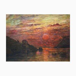 Escandinavia, solsticio de verano, óleo sobre lienzo