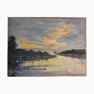 Weygandt, Landscape On the River, 1972, Watercolor