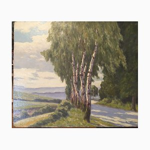 Johannes Block, 1871-1959, Chaussee Direction, óleo sobre madera prensada