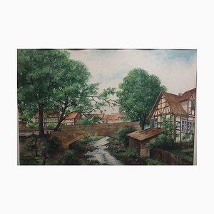 Carl Koch, Altenbauna Brücke, 1947, Aquarell