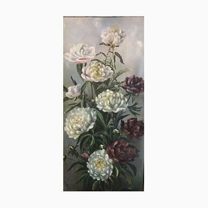 E. Mieschinski, Dahlias, 1919, Oil on Cardboard